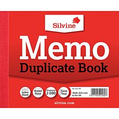 Silvine Duplicate Memo Book 603 Ruled and Perforated Feint 100 Sheets