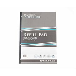 Ryman Superior Pad A4 Narrow Ruled With Margin Side Bound 400 Pages 200 Sheets Pack of 5