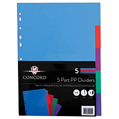 Concord 5 Part Polypropylene Dividers Assorted A4