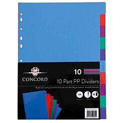 Concord 10 Part Polypropylene Dividers Assorted A4