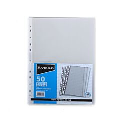 Ryman Punched Pockets A4 50 Micron Pack of 50