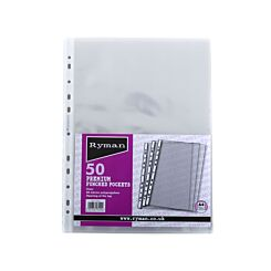 Ryman Premium Punched Pockets A4 80 Micron Pack of 50