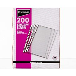 Ryman Premium Pockets Pack of 200 A4 80 Micron Clear