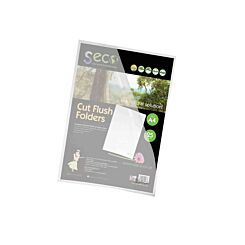 Seco Biodegradable Cut Flush Folder A4 Pack of 25 Frosted Clear
