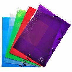 Exacompta Elasticated 3 Flap Folder A4 PP Crystal Pack of 25 Assorted
