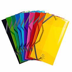 Exacompta Iderama Elasticated 3 Flap Folder 23.5x12 Pack of 10 Assorted