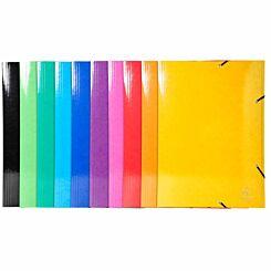 Exacompta Iderama Elasticated 3 Flap Folder A3 590gsm Pack of 10 Assorted