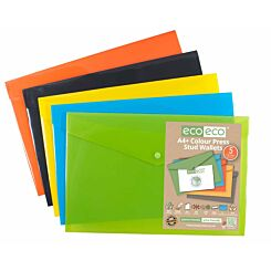 Eco-eco Press Stud Wallets A4 Plus Pack of 5