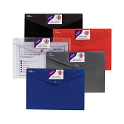 Snopake Polyfile ID Popper Wallet A4 Pack of 5 Assorted Standard