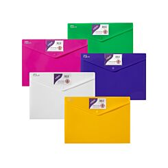 Snopake Polyfile ID Popper Wallet A4 Pack of 5 Assorted Brights