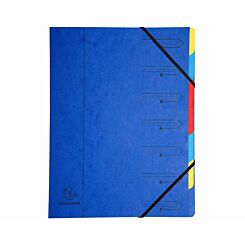 Exacompta Europa Multi File 7 Part Card Dividers A4 400gsm Pack of 12 Blue