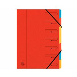Exacompta Europa Multi File 7 Part Card Dividers A4 400gsm Pack of 12 Red