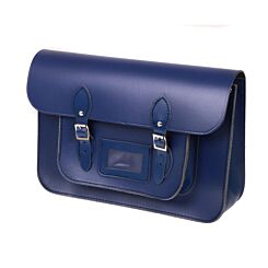British Made Recycled Leather Satchel Blue
