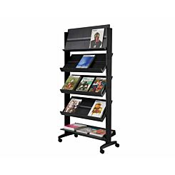 Mobile Wide Display with 5 Sloping Shelves