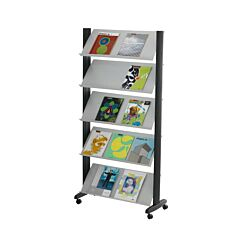 Mobile Wide Display Unit with 5 Sloping Shelves