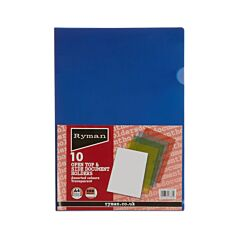 Ryman Translucent Document Holder A4 200 Micron Pack of 10 Assorted