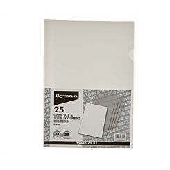 Ryman Translucent Document Holder A4 100 Micron Pack of 25 Clear