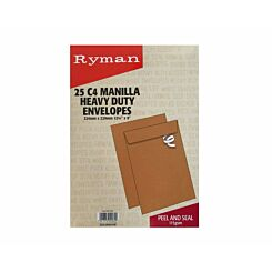 Ryman Heavy Duty Envelopes C4 115gsm Peel & Seal Pack of 25