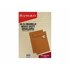 Ryman Heavy Duty Envelopes C4 115gsm Peel Seal Pack of 50
