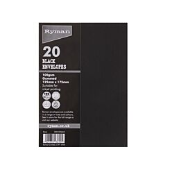 Ryman Envelopes for Cards 125x175mm 100gsm Pack of 20 Black