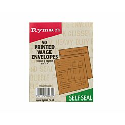 Ryman Wage Envelopes 108x102mm Self Seal Pack of 50