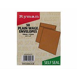 Ryman Wage Envelopes 108x102mm Self Seal Plain Pack of 50