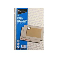 Ryman Board Backed Envelopes 254x178mm Peel and Seal Pack of 50