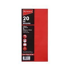 Ryman Coloured Envelopes DL 100gsm Gummed Pack of 20 Poppy Red