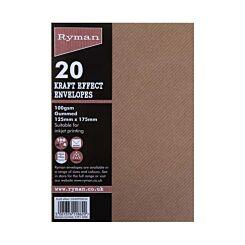 Ryman Kraft Effect Envelopes 100gsm Gummed Pack of 20