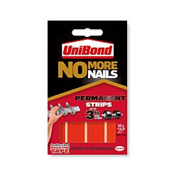 Unibond No More Nails Adhesive Permanent Strips 3kg 20mm x 40mm Pack of 10