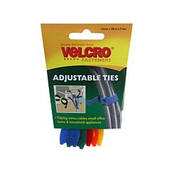 VELCRO Brand Adjustable Cable Ties Pack of 5 Assorted Colours