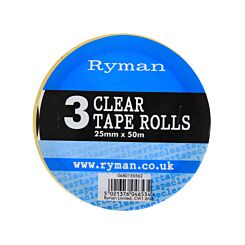 Ryman Clear Tape 25mmx50m Pack of 3