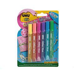 UHU Glitter Glue 10ml 6 Pack Shiny Colours