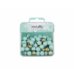 Ball Push Pins Green and Gold Pack of 80