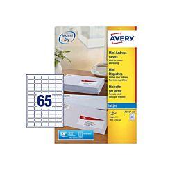Avery Inkjet Labels 38.1x21.2mm 65 Per Sheet 100 Sheets L7651