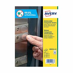 Avery Circular Anti-Microbial Film Stickers Pack of 63 Assorted