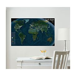 Earth at Night Glow in the Dark World Map