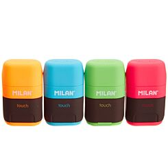 Milan Compact Touch Sharpener and Eraser Assorted Colours