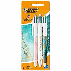 BiC 4 Colour Marble Ballpoint Pen Pack of 3