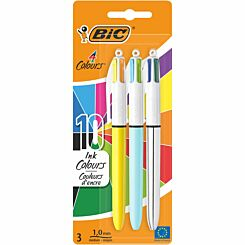 BiC 4 Colour Ballpoint Pens Pack of 3 Assorted