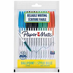 Papermate Ballpoint Pen 1.0mm Pack of 15 Assorted