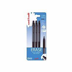 Uni-Ball UF-222-07 Erasable Gel Pens Pack of 3