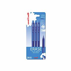 Uni-Ball UF-222-07 Erasable Gel Pens Pack of 3 Blue