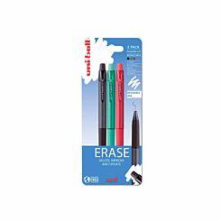 Uni-Ball UF-222-07 Erasable Gel Pens BGR Pack of 3