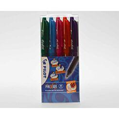 Pilot Frixion Rollerball Pen Wallet of 5 Fun Colours