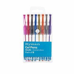 Ryman Gel Pens Metallic Pack of 8