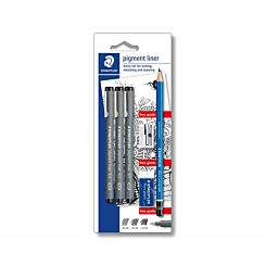 Staedtler Pigment Liner Pack of 3 and  Pencil Eraser Sharpener Set