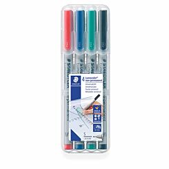 Staedtler Lumocolour Non-Permanent Markers Super Fine Pack of 4