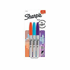 Sharpie Permanent Markers Fine Electro Pop Pack of 3