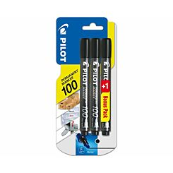 Pilot 100 Series Permanent Marker Pack of 3